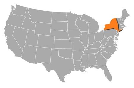 political map: Mapa pol�tico de Estados Unidos con los diversos estados de Nueva York, donde se pone de relieve.