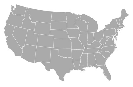 regions: Political map of the United States with the several states.