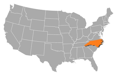 highlighted: Political map of United States with the several states where North Carolina is highlighted.