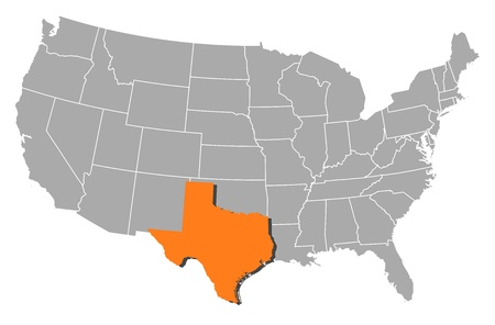 highlighted: Political map of United States with the several states where Texas is highlighted.