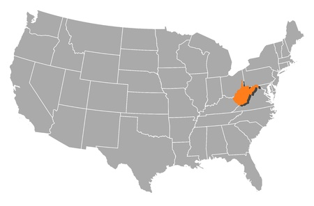 Political map of United States with the several states where West Virginia is highlighted.