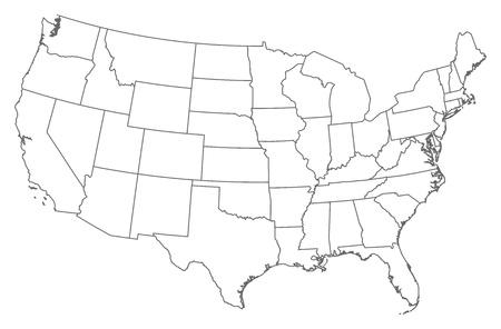 La carte politique des États-Unis avec les divers États.