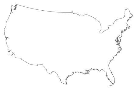 frontiers: Political map of the United States with the several states.