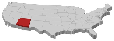 Political map of United States with the several states where Arizona is highlighted.