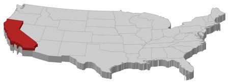 highlighted: Mappa politica degli Stati Uniti con i diversi Stati in cui si evidenzia California. Vettoriali
