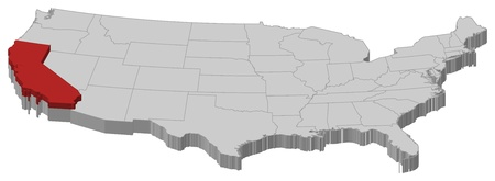 political map: Political map of United States with the several states where California is highlighted.
