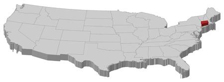 highlighted: Mappa politica degli Stati Uniti con i diversi Stati in cui si evidenzia Connecticut.