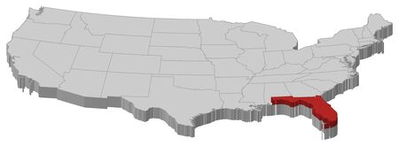fl: Political map of United States with the several states where Florida is highlighted.
