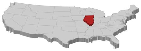 Political map of United States with the several states where Illinois is highlighted.
