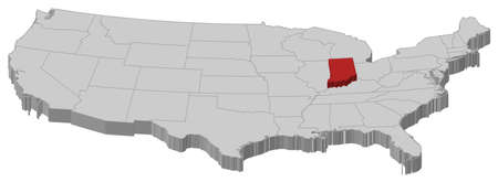 Political map of United States with the several states where Indiana is highlighted.