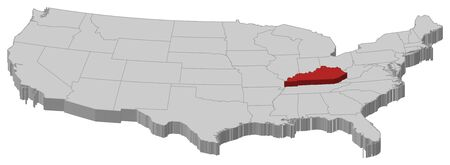 Political map of United States with the several states where Kentucky is highlighted.