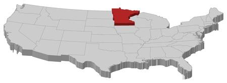 highlighted: Mappa politica degli Stati Uniti con i diversi Stati in cui � evidenziato Minnesota.