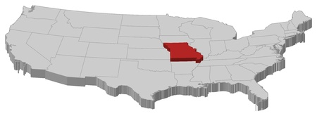 Political map of United States with the several states where Missouri is highlighted. Vector