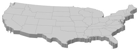 united  states of america: Mappa politica degli Stati Uniti con i diversi stati.