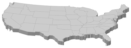 general maps: Political map of the United States with the several states.