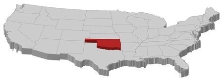 Political map of United States with the several states where Oklahoma is highlighted. Vector