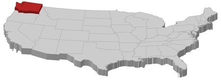 Political map of United States with the several states where Washington is highlighted.