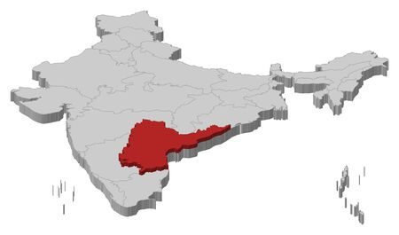 andhra: Political map of India with the several states where Andhra Pradesh is highlighted.