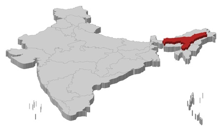 Political map of India with the several states where Assam is highlighted. Illustration