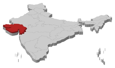 gujarat: Political map of India with the several states where Gujarat is highlighted.