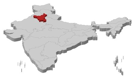 haryana: Political map of India with the several states where Haryana is highlighted. Illustration