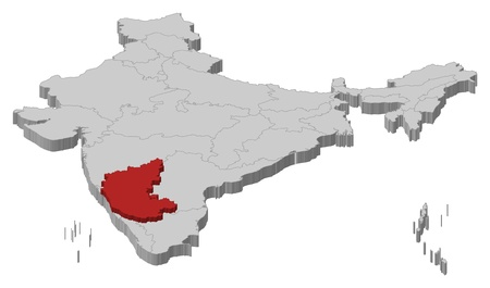 karnataka: Mapa pol�tico de la India con los diversos estados de Karnataka, donde se resalta. Vectores