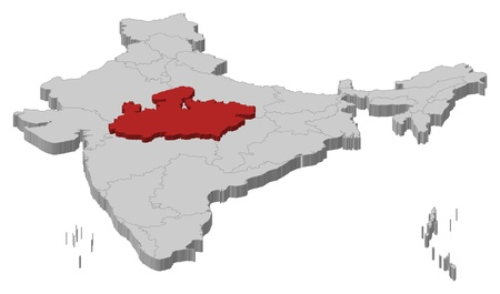 madhya: Political map of India with the several states where Madhya Pradesh is highlighted.