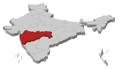 Political map of India with the several states where Maharashtra is highlighted.