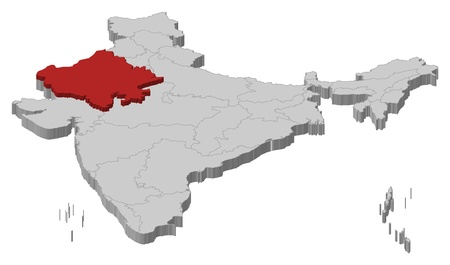 Political map of India with the several states where Rajasthan is highlighted. Vector