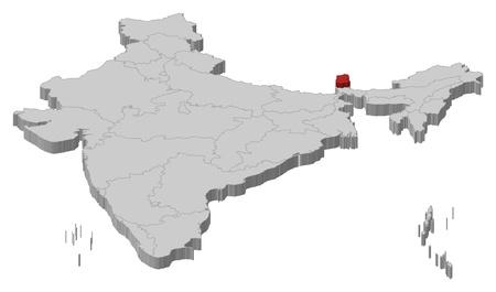 Carte Inde Sikkim.Carte Politique De L Inde Avec Les Etats Ou Plusieurs Sikkim Est En