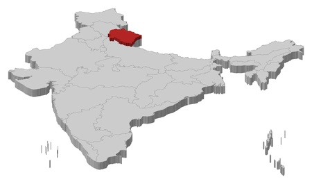 Political map of India with the several states where Uttarakhand is highlighted.