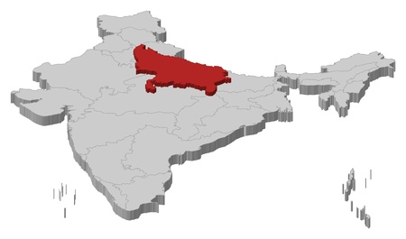 Political map of India with the several states where Uttar Pradesh is highlighted. Vector