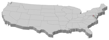 Political map of United States with the several states where Washington, D.C. is highlighted.