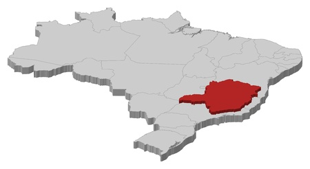 emphasize: Political map of Brazil with the several states where Minas Gerais is highlighted.