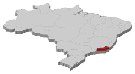 Political map of Brazil with the several states where Rio de Janeiro is highlighted. Vector