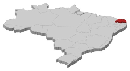 Political map of Brazil with the several states where Rio Grande do Norte is highlighted.