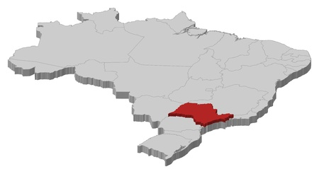 Political map of Brazil with the several states where São Paulo is highlighted.