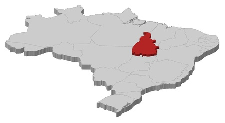 Political map of Brazil with the several states where Tocantins is highlighted. Vector
