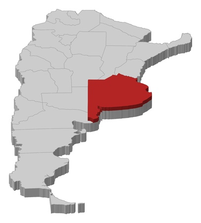 Political map of Argentina with the several provinces where Buenos Aires is highlighted. Vector
