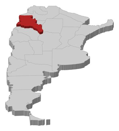 Political map of Argentina with the several provinces where Catamarca is highlighted. Vector