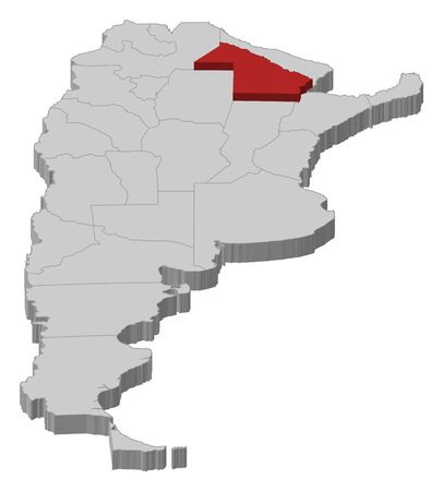 Political map of Argentina with the several provinces where Chaco is highlighted.