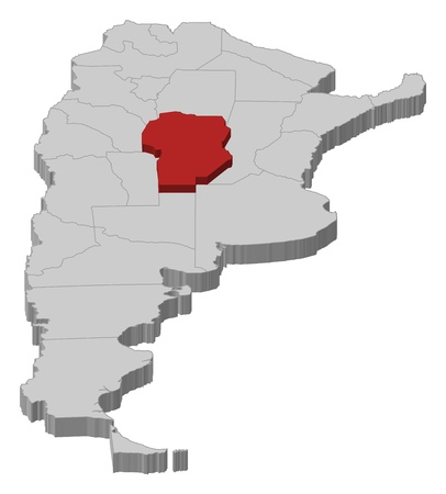 Political map of Argentina with the several provinces where C�rdoba is highlighted. Vector