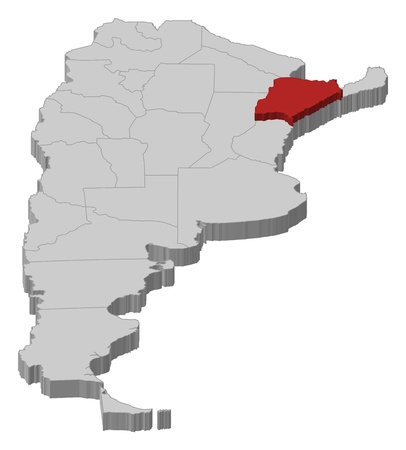 Political map of Argentina with the several provinces where Corrientes is highlighted.