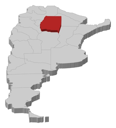 del: Political map of Argentina with the several provinces where Santiago del Estero is highlighted.