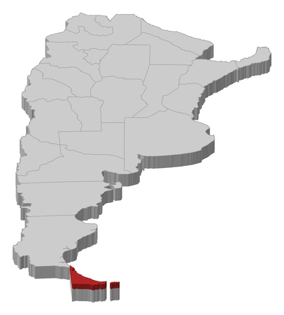 tierra: Political map of Argentina with the several provinces where Tierra del Fuego is highlighted. Illustration