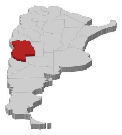 Political map of Argentina with the several provinces where Mendoza is highlighted. Vector