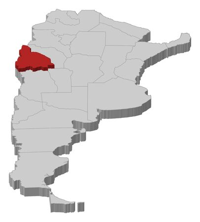 Political map of Argentina with the several provinces where San Juan is highlighted. Vector