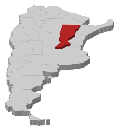 Political map of Argentina with the several provinces where Santa Fe is highlighted. Vector