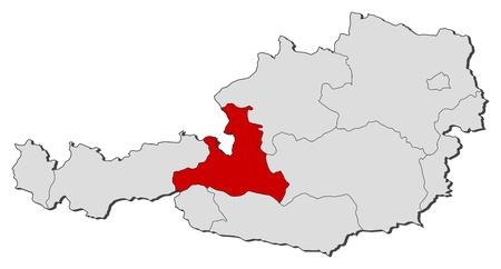 highlighted: La mappa politica d'Austria con i diversi Stati in cui si evidenzia Salisburgo. Vettoriali