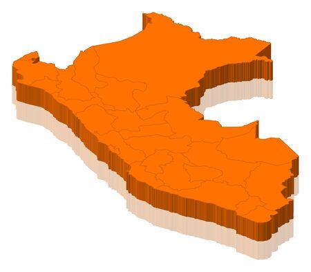mapa del peru: Mapa político del Perú con las diversas regiones. Foto de archivo